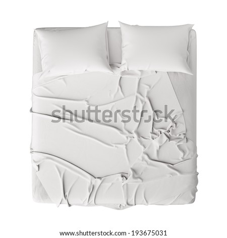 White Bed In Empty Space Isolated on White, Render  - stock photo