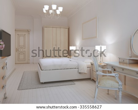white bedroom art deco style with linoleum flooring and white walls cream and beige furniture - Linoleum Living Room Decor