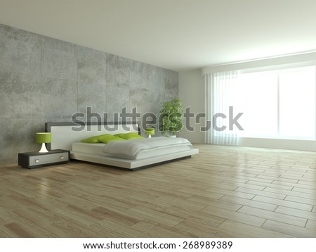 white bedroom design-3D rendering - stock photo