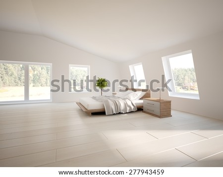 white bedroom design of modern house -3d rendering - stock photo