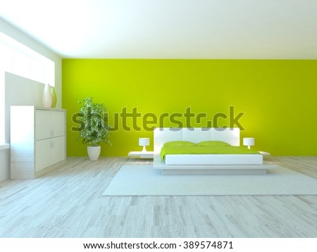 white bedroom design with green wall- 3d illustration - stock photo