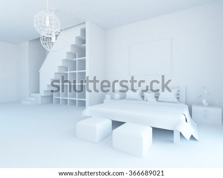 white bedroom interior. 3d illustration - stock photo