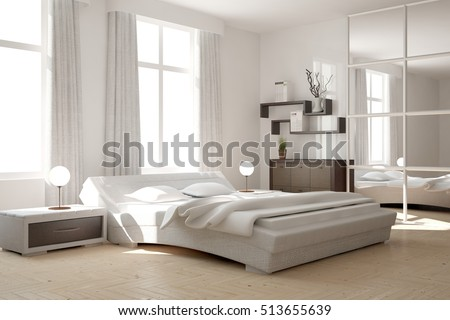white bedroom scandinavian interior design 3d illustration