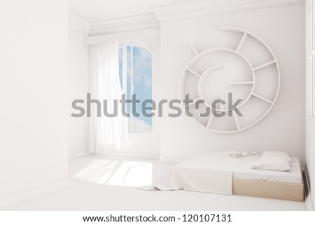 White Bedroom with curtain and wooden bed - stock photo