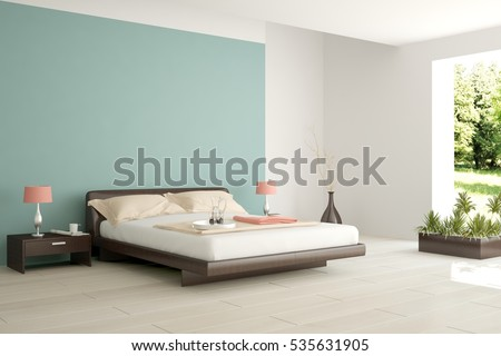 white bedroom with green landscape in window scandinavian interior design 3d illustration