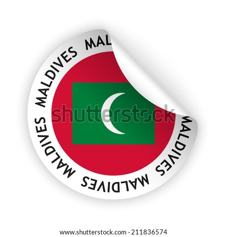 White bent sticker with flag of the maldives