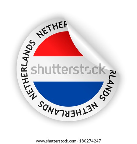 White bent sticker with flag of the netherlands raster version available as vector too