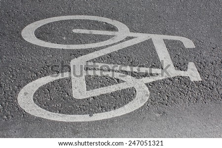 White bicycle on cycle way  - stock photo