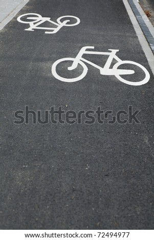 white bicycle road sign black - stock photo