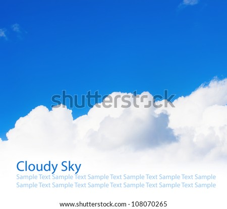 White big cloud on blue sky - stock photo