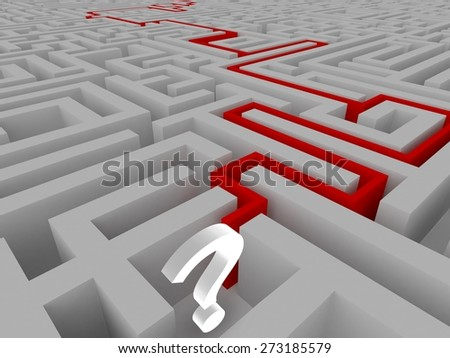White big question mark in a maze - stock photo