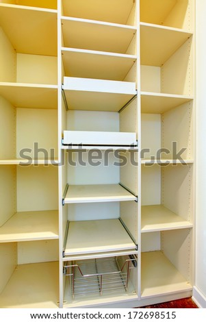White big wooden storage combination for a laundry room - stock photo