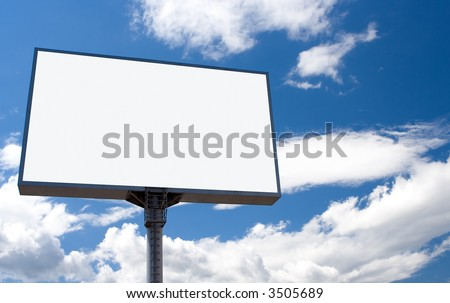white bill board advertisement under blue  sky with clouds - stock photo