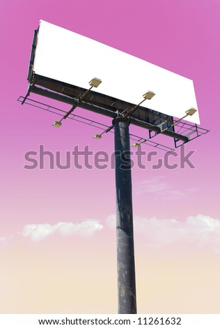 """white billboard advertise with clouds """"put your ad here"""" - stock photo"""