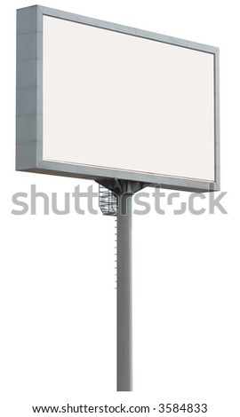 white billboard isolated over white with clipping path