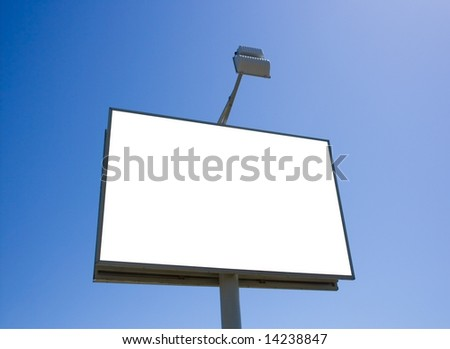White billboard on sky background - stock photo