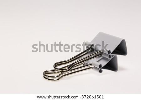 White Binder Clips - stock photo