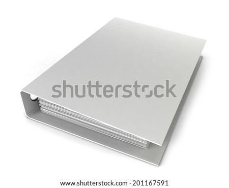 White binder. 3d illustration isolated on white background - stock photo