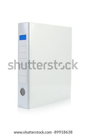 white binder stand alone in white background - stock photo