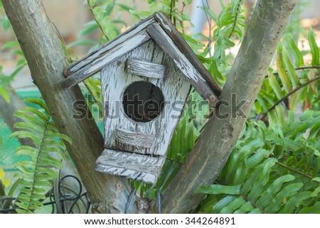White bird house - stock photo