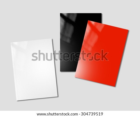 white, black and red booklet covers isolated on background - mockup template - stock photo