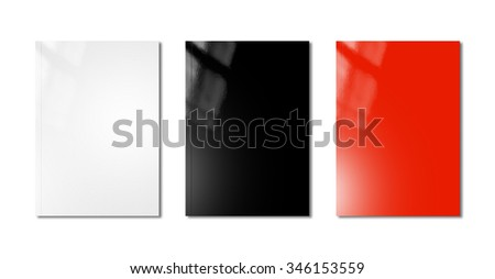 white, black and red booklet covers isolated on white background - mockup template - stock photo