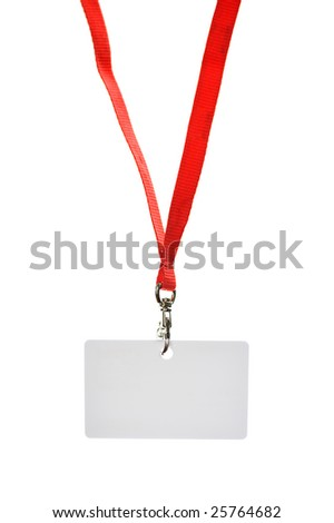 white blank badge with red strip isolated in white background - stock photo