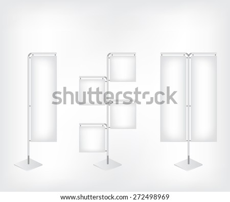 White blank banner flag - stock photo