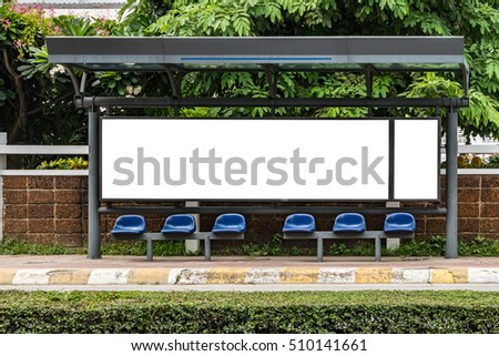 White blank billboard at bus stop with clipping path