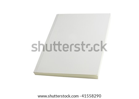 white blank book brochure on white background - stock photo