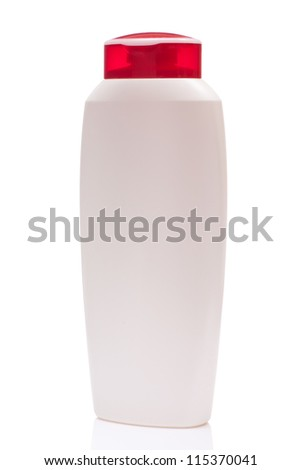 white blank bottle wiht red cap, isolated on white background - stock photo