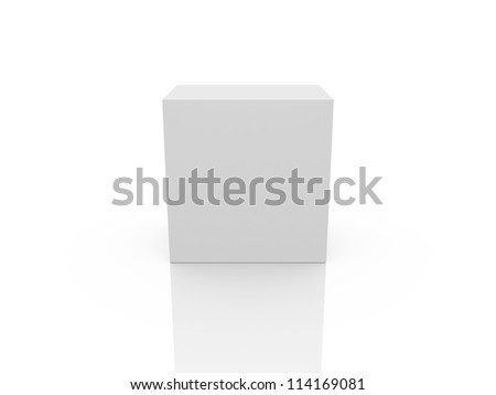 White, blank box template, isolated on white background. - stock photo