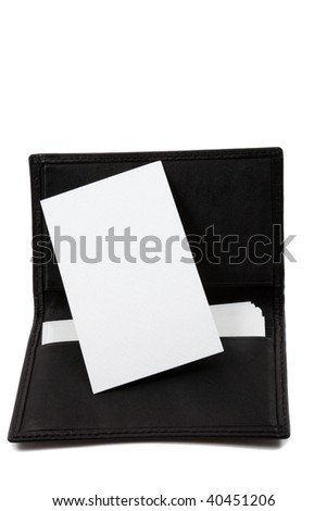 White, blank business card in leather card holder - stock photo