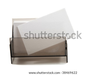 White blank business / name card in a box - stock photo