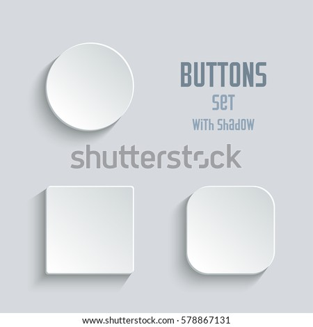 white blank button set. Round square rounded buttons