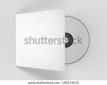 White blank compact disk 3d render - stock photo