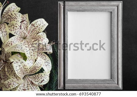 White Blank Condolence Card Frame Lily Stock Photo (Royalty Free ...