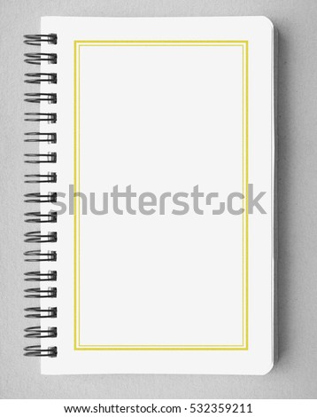 White blank cover book antique classic old vintage retro with golden line frame for education business idea book cover design note pad memo on gray background