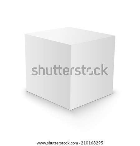 White Blank Cube 3d box paper on white background. 3d box design. 3d box template. 3d box vector. 3d box illustration