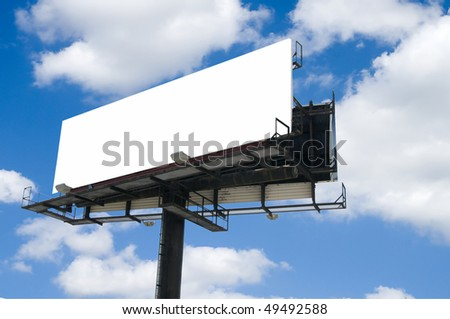 White Blank double back to back billboard with partly cloudy sky - stock photo