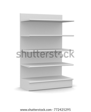White Blank Empty POS POI Floor Display Showcase with Rack Shelves for Supermarket, Bank, Shop or Storefront Isolated On White Background. 3D illustration