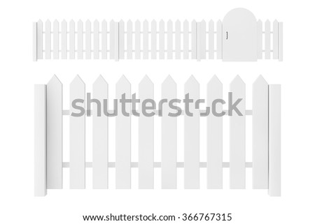 White Blank Fence on a white background - stock photo