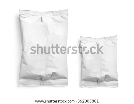 White Blank Foil Food Snack Sachet Bag Packaging For Coffee, Salt, Sugar, Pepper, Spices, Sachet, Sweets, Chips, Cookies..  - stock photo