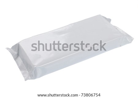 white blank foil packaging. plastic pack. ready for your design - stock photo