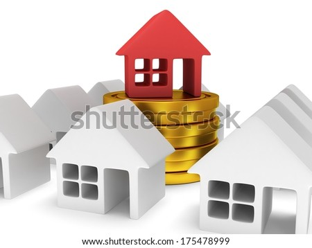 White blank houses and red one on stack of coins. Real estate, rent, building, out of crowd, home, mortgage, money concept. 3d render icon. - stock photo