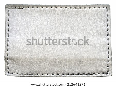 white blank jeans label isolated on white background - stock photo