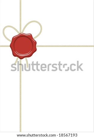 White blank  like packet with cord and wax seal - stock photo