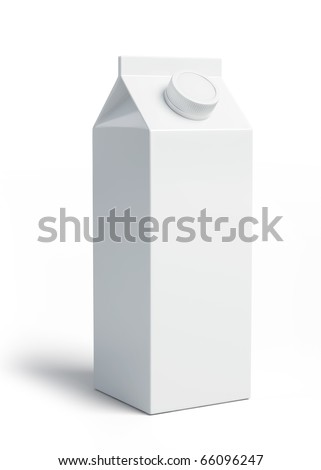 White blank milk box - stock photo