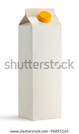 White blank milk box - stock photo