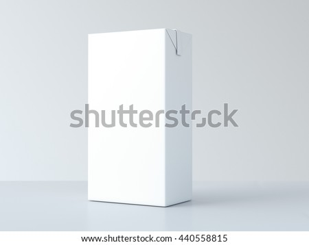White blank milk package on table. 3d rendering - stock photo